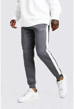 Grey MAN Signature Skinny Side Panel Jogger