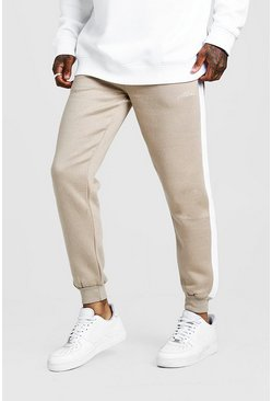 Taupe MAN Signature Skinny Side Panel Jogger