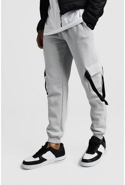 Grey MAN Signature Slim Fit Cargo Jogger With Buckle