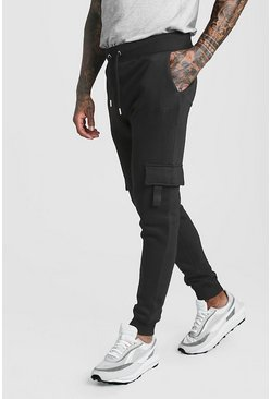 Mens Black Original MAN Skinny Fit Cargo Jogger With Tab