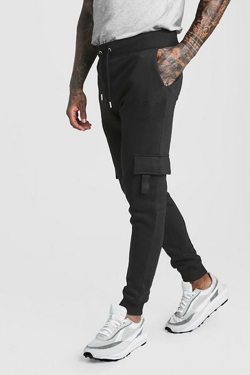 Black Original MAN Skinny Fit Cargo Jogger With Tab