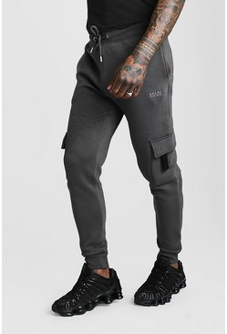 Mens Charcoal Original MAN Skinny Fit Cargo Jogger With Tab