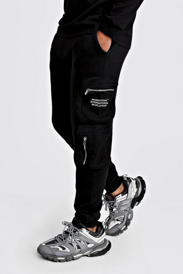 Black MAN Official Print Cargo Jogger With 3D Pockets