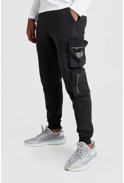Mens Charcoal MAN Official Print Cargo Jogger With 3D Pockets