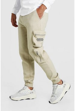 Mens Sand MAN Official Print Cargo Jogger With 3D Pockets