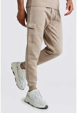 Taupe Skinny Fit Panelled Cargo Jogger
