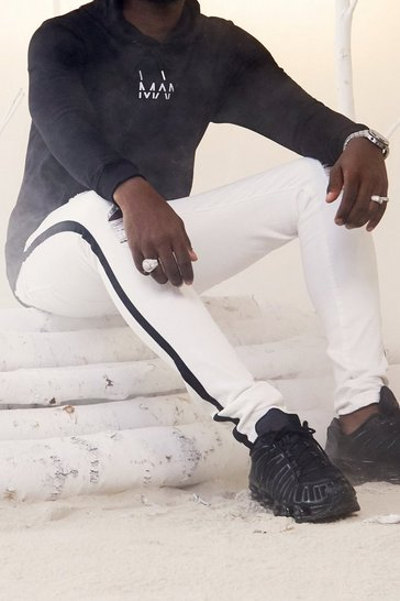 Mens White Super Skinny Distressed Jeans with Side Tape