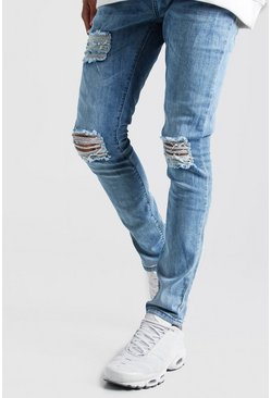 Washed blue Super Skinny Jeans With Distressing