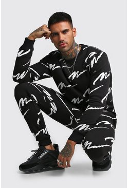 Black All Over MAN Printed Sweater Tracksuit
