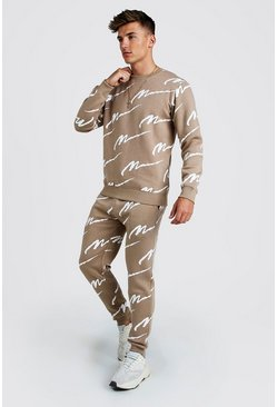 Mens Taupe All Over MAN Printed Sweater Tracksuit
