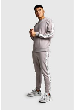 Pullover-Trainingsanzug mit MAN LTD Edition-Etikett, Steingrau