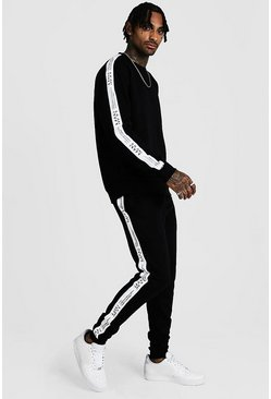 Black Sweater Tracksuit With MAN LTD Edition Tape