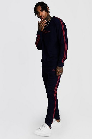 Navy MAN Signature Sweater Tracksuit With Tape