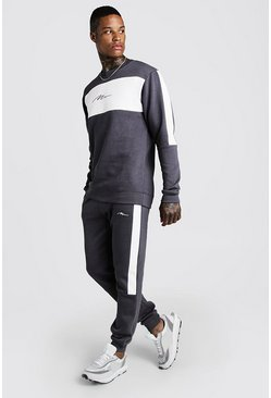 Mens Charcoal MAN Colour Block Skinny Sweater Tracksuit