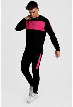 Black MAN Colour Block Skinny Sweater Tracksuit