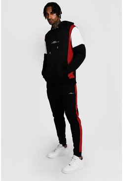 Mens Black MAN Signature Colour Block Hooded Tracksuit