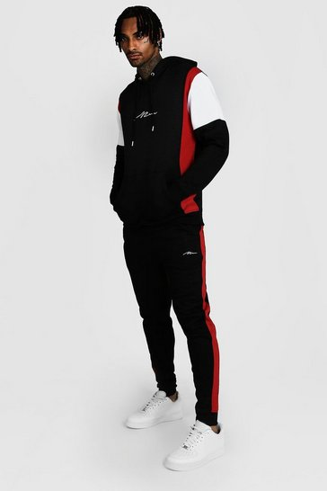 Black MAN Signature Colour Block Hooded Tracksuit