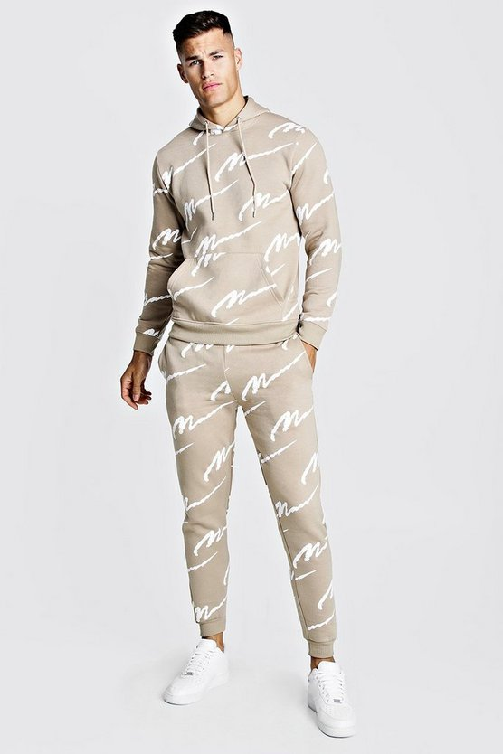 Taupe All Over MAN Printed Hooded Tracksuit
