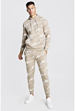 Mens Taupe All Over MAN Printed Hooded Tracksuit