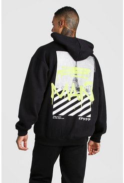 Black MAN Graffiti Paris Back Print Hooded Tracksuit