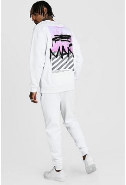 White MAN Graffiti New York Back Print Sweater Tracksuit