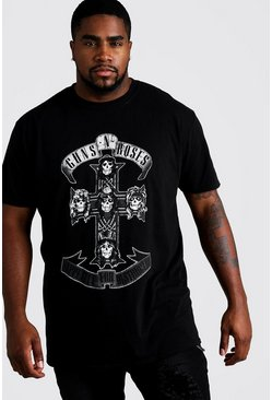 T-shirt Big and Tall ufficiale dei Guns 'n Roses con croce, Nero