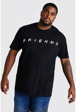 T-shirt Big And Tall con logo ufficiale di Friends, Nero