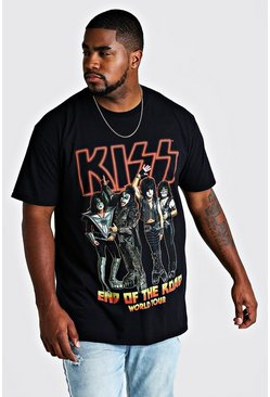 "Big And Tall T-Shirt mit lizenziertem ""Kiss End Of The Road""-Print, Schwarz, Herren"