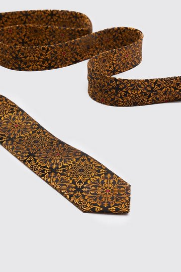 Mens Gold All Over Baroque Tie