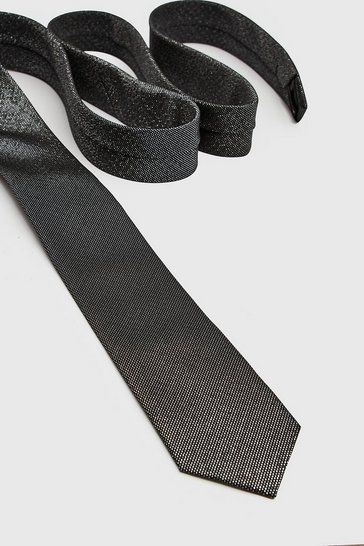 Mens Black Metallic Thread Tie