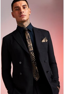 Herr Black Gold Mettallic Leaf Tie