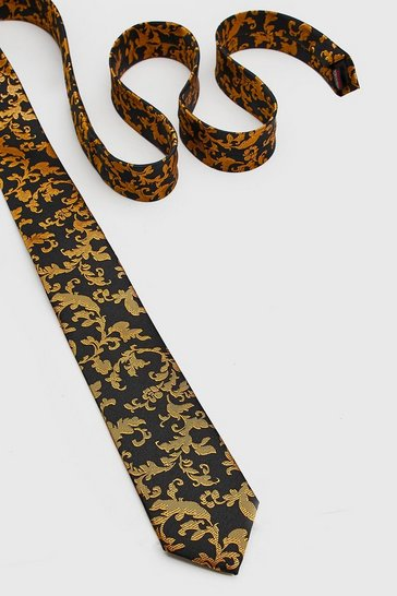 Mens Black Baroque Leaf Tie