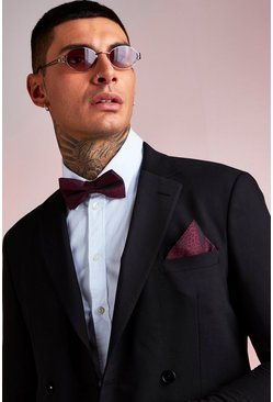 Herr Burgundy Red Leopard Pocket Square