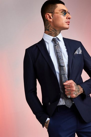 Mens Navy Paisley Metallic Tie