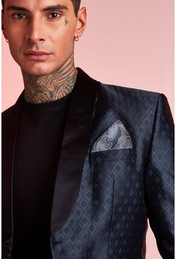 Navy Paisley Metallic Pocket Square