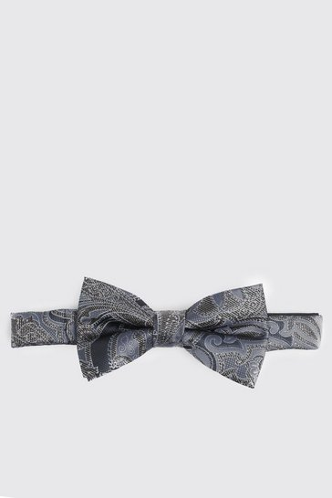 Mens Navy Paisley Metallic Print Bow Tie