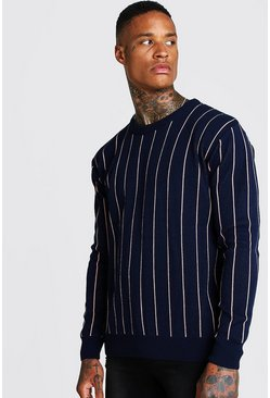 Mens Navy Long Sleeve Pinstripe Knitted Jumper