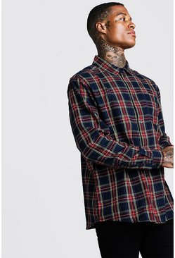 Herr Red Brushed Tartan Check Oversized Shirt