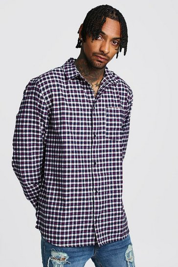 Mens Navy Brushed Check Oversized Shirt