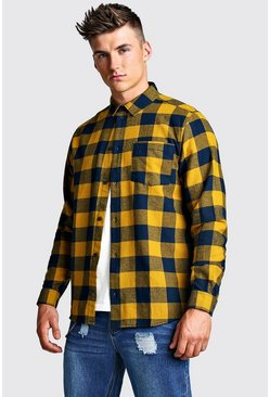 Mens Mustard Large Brushed Check Oversized Shirt