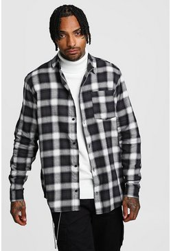 Herr Black Large Brushed Check Oversized Shirt