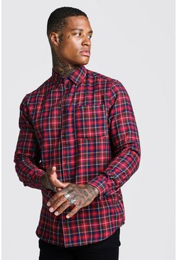 Herr Red Brushed Tartan Longline Shirt