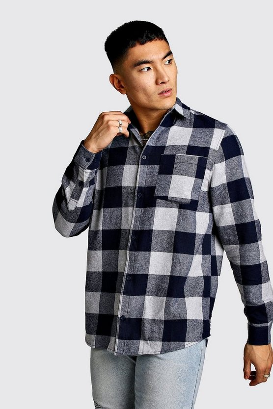 Black Monochrome Longline Check Shirt