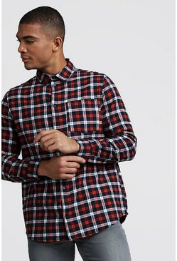 Herr Orange Check Brushed Longline Shirt