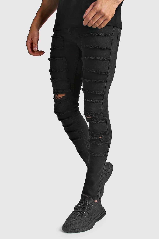 mens super skinny distressed patch jean - black