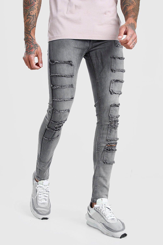 mens super skinny distressed patch jean - grey