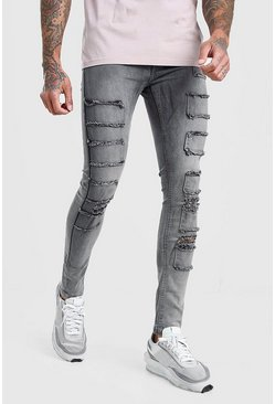 Mens Grey Super Skinny Distressed Patch Jean