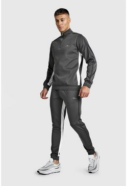 Mens Charcoal MAN Signature Half Zip Tricot Tracksuit With Panels