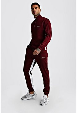 Burgundy MAN Signature Half Zip Tricot Trakcsuit With Panels