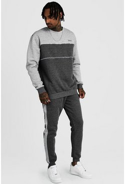 Charcoal Original MAN Tonal Colour Block Sweater Tracksuit